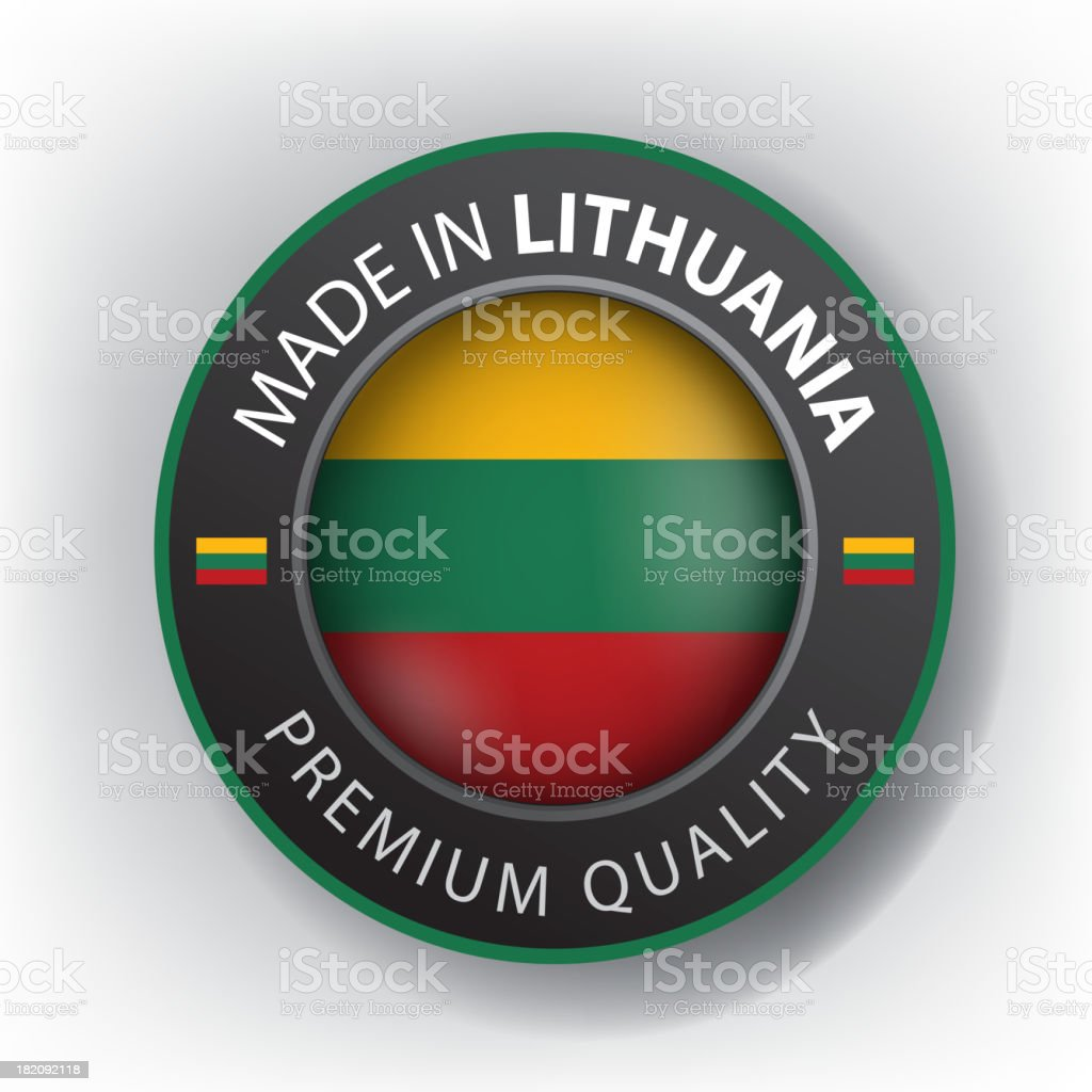 Made in LITHUANIA, Lithuanian seal, Flag, (Vector) royalty-free stock vector art