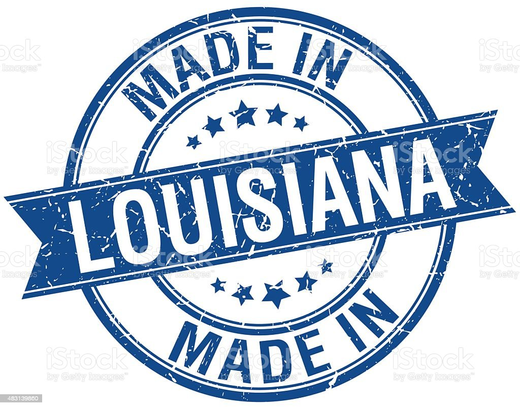 made in Louisiana blue round vintage stamp vector art illustration