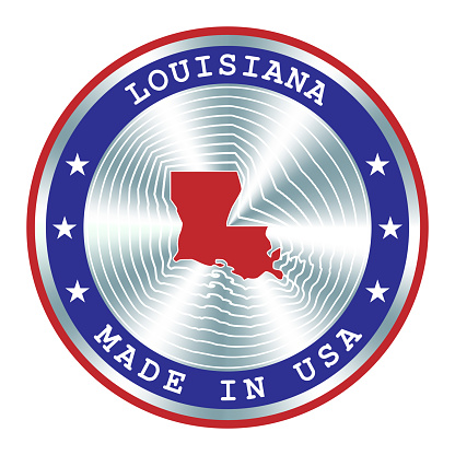 Made in Louisiana local production sign, sticker, seal, stamp. Round hologram sign for label design and national USA marketing