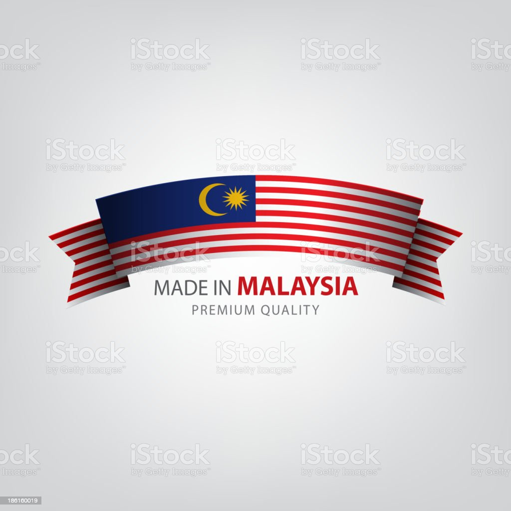 Made in MALAYSIA, Malaysian ribbon, Flag, (Vector) royalty-free stock vector art