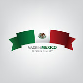 Made in Mexico, ribbon, Mexican Flag(vector art)