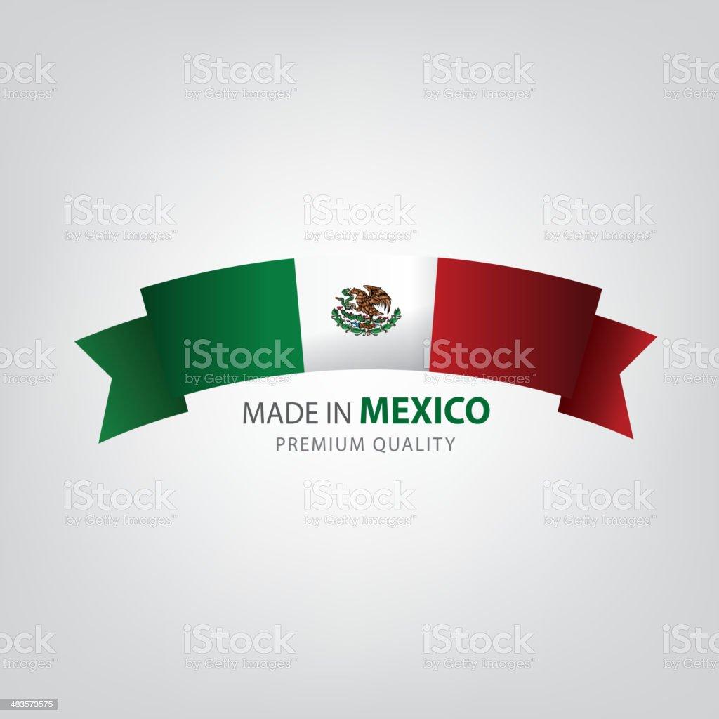 Realizado en México, plano, bandera mexicana (arte vectorial) - ilustración de arte vectorial