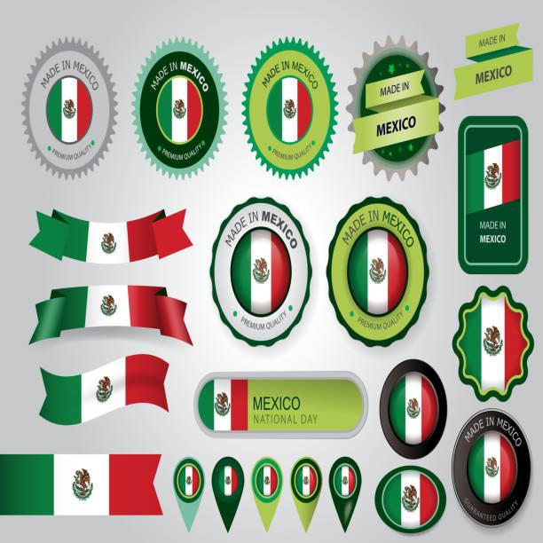 ilustraciones, imágenes clip art, dibujos animados e iconos de stock de made in mexico seal, mexican flag (vector art) - bandera mexicana