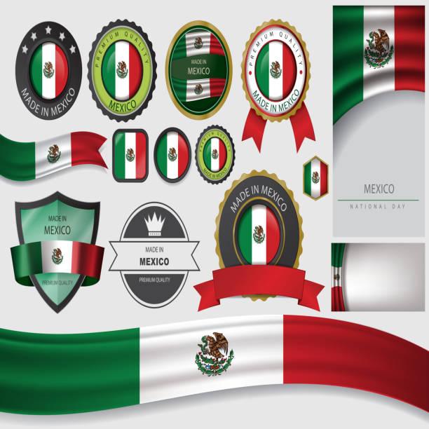 ilustraciones, imágenes clip art, dibujos animados e iconos de stock de hecho en méxico el sello, la bandera mexicana (vector art) - bandera mexicana