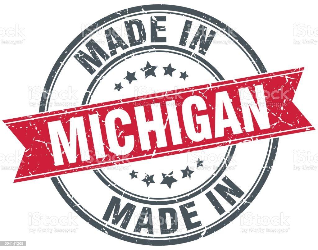 made in Michigan red round vintage stamp vector art illustration