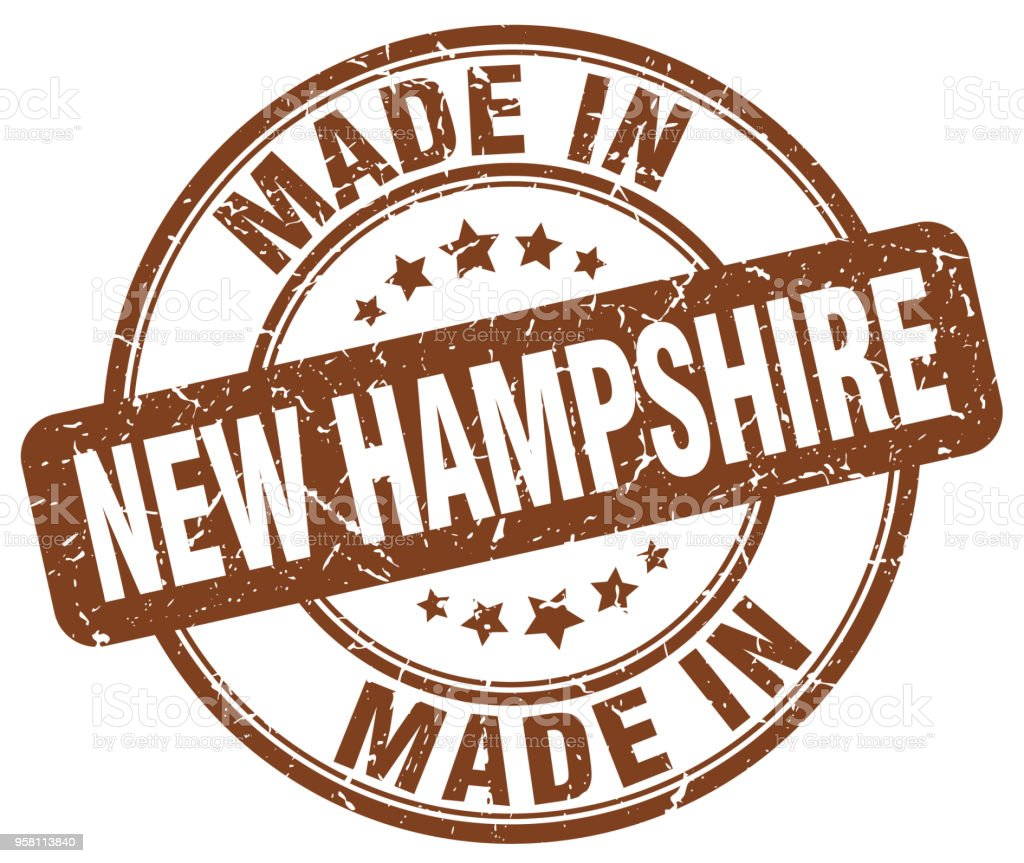 made in New Hampshire brown grunge round stamp vector art illustration