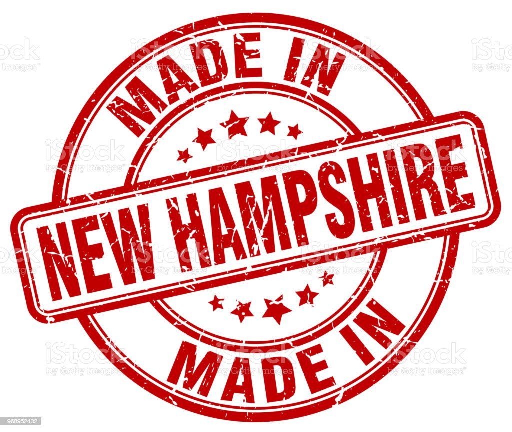 made in New Hampshire red grunge round stamp vector art illustration