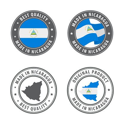 Made in Nicaragua - set of labels, stamps, badges, with the Nicaragua map and flag. Best quality. Original product.