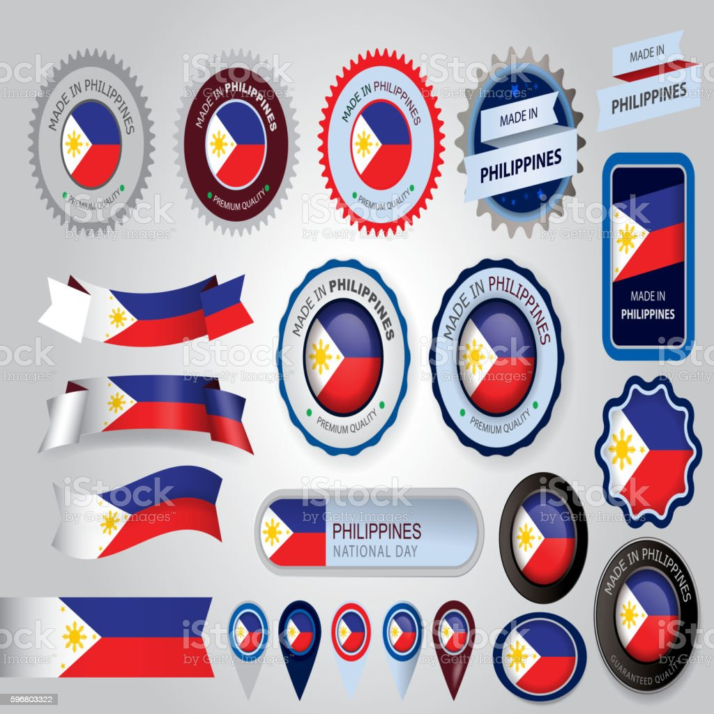 Made in Philippines Seal, Philippines Flag (Vector Art) vector art illustration