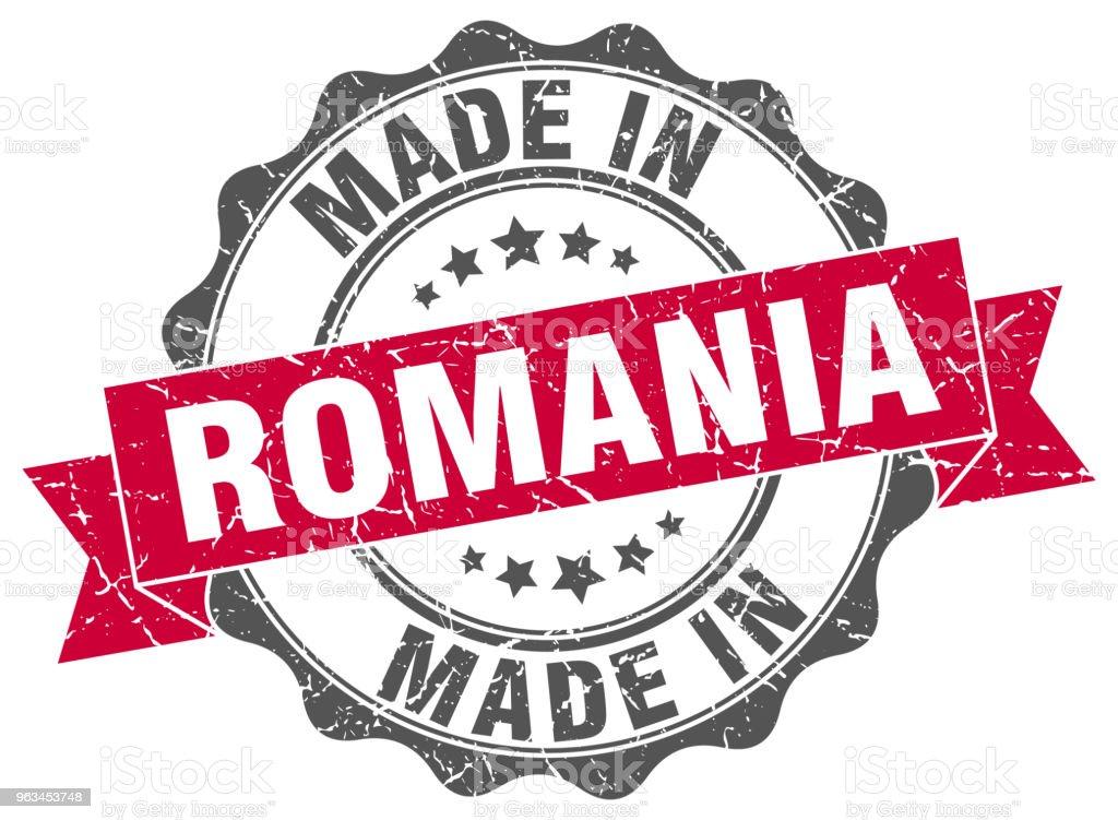 faite en Roumanie autour de seal - clipart vectoriel de Badge libre de droits