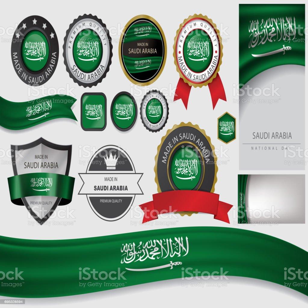 Made in Saudi Arabia Seal, Saudi Arabian Flag (Vector Art) vector art illustration