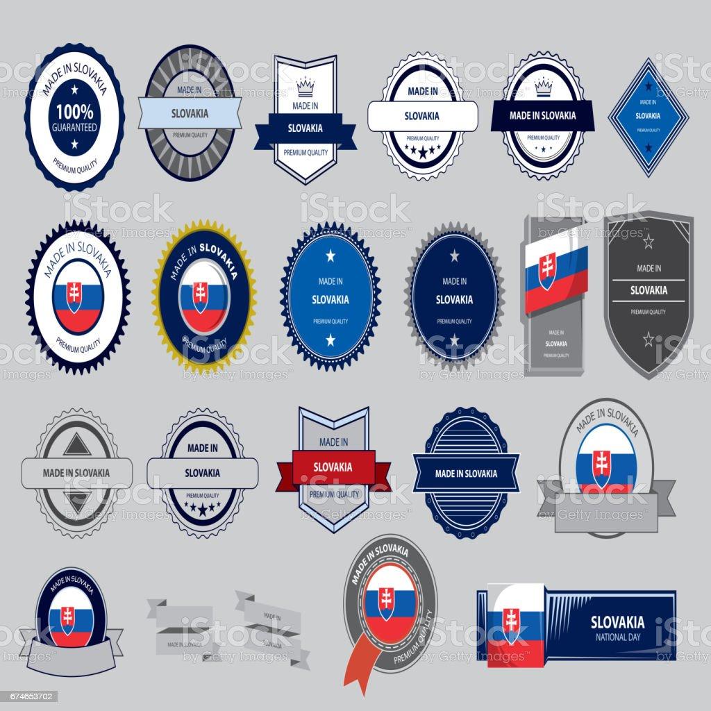 Made in Slovakia Seal, Slovak Flag (Vector Art) vector art illustration