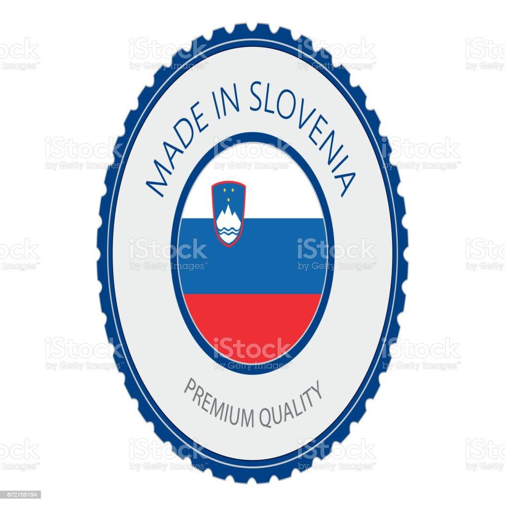 Made in Slovenia Seal, Slovenian Flag (Vector Art) vector art illustration
