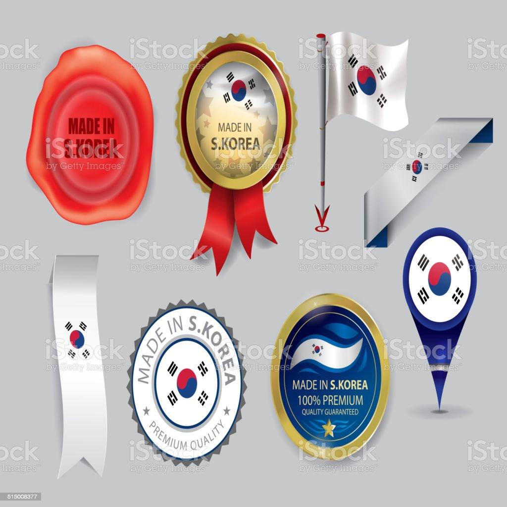 Feito na Coreia do Sul, selo e bandeira S.Korea (vetores - ilustração de arte em vetor