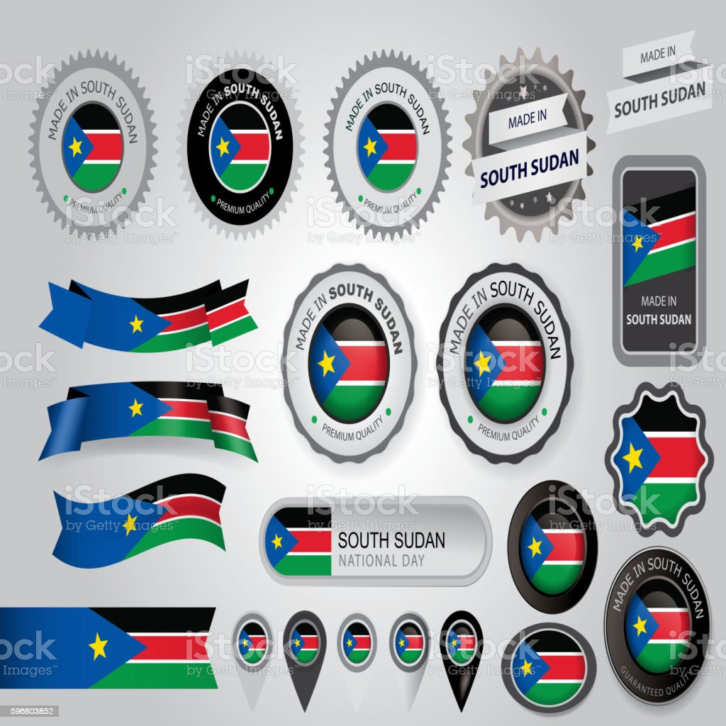 Made in South Sudan Seal, s. Sudan Flag (Vector Art) vector art illustration