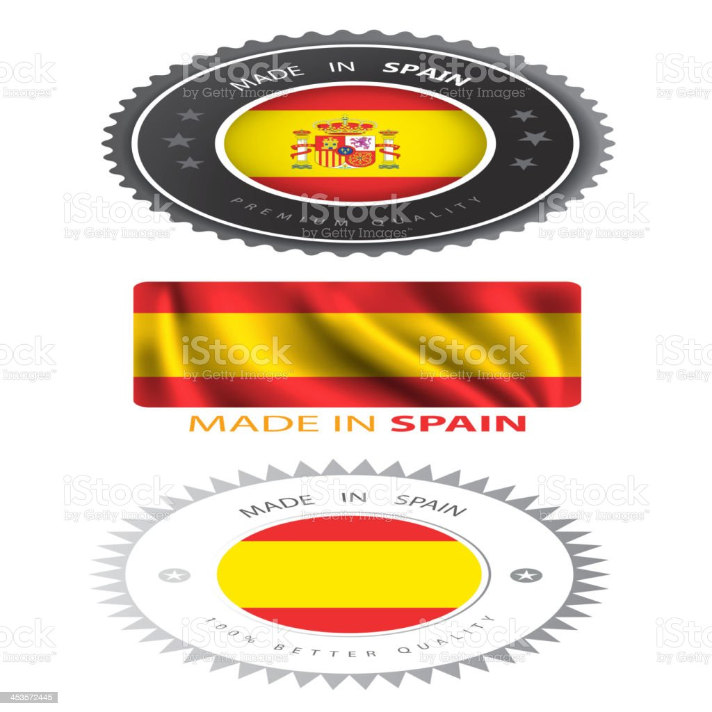 Made in Spain, seals, Flags royalty-free stock vector art