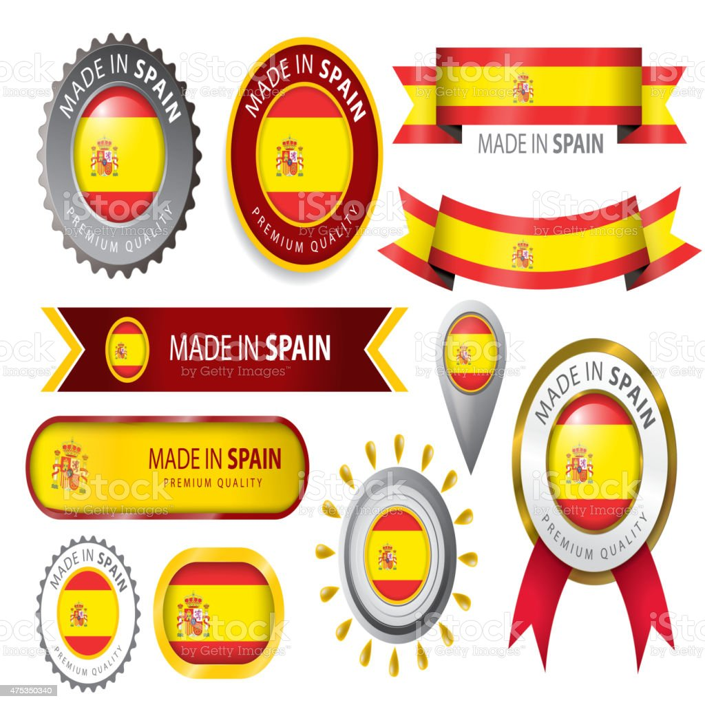 Made In Spain Seal Spanische Nationalflagge Stock Vektor Art und ...