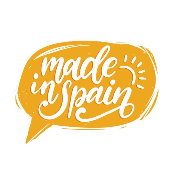Fabricado na Espanha, vector letras de mão. Caligráfica inscrição na bolha do discurso. - ilustração de arte em vetor