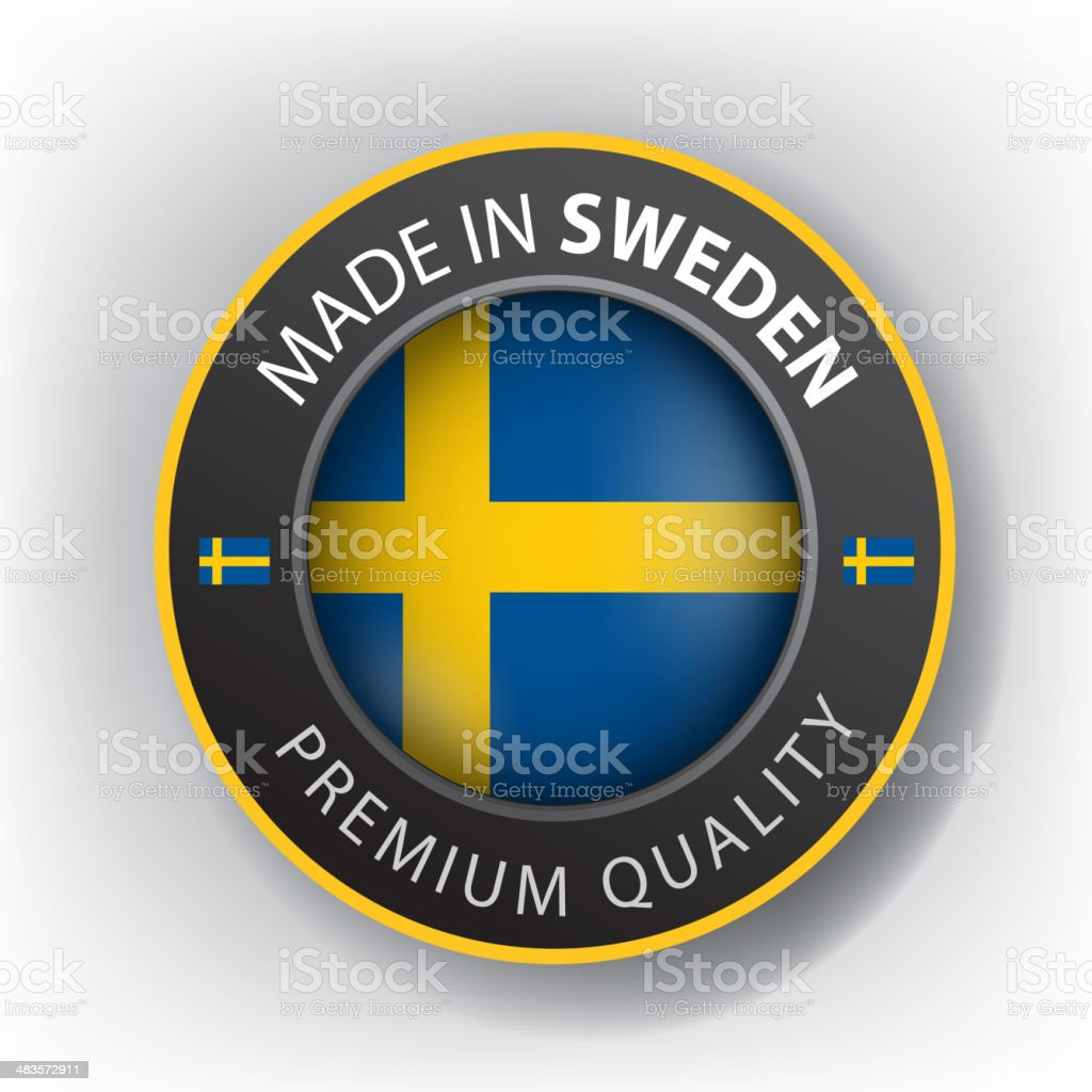 Made in Sweden, seal, Flag, (Vector) royalty-free stock vector art