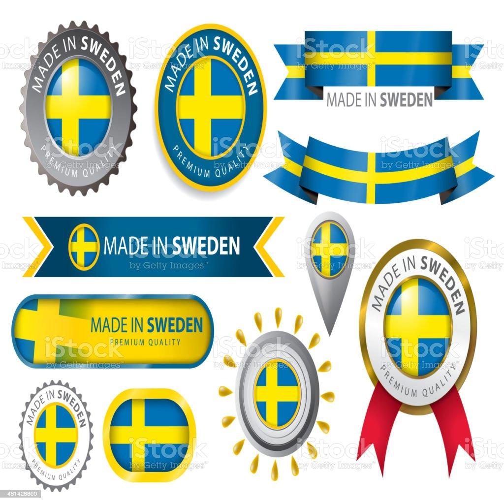 Hecho en Suecia, junta, bandera sueca (arte vectorial) - ilustración de arte vectorial