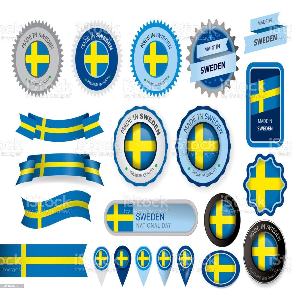 Made in Sweden Seal, Swedish Flag (Vector Art) vector art illustration