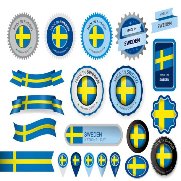 ilustraciones, imágenes clip art, dibujos animados e iconos de stock de hecho en suecia, junta, bandera sueca (arte vectorial) - bandera sueca