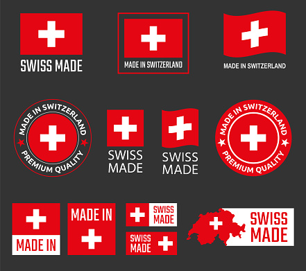 made in Switzerland labels set, Swiss made product emblem