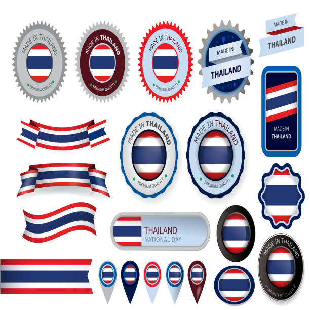 made in thailand seal, thai flag (vector art) - thai flag stock illustrations, clip art, cartoons, & icons