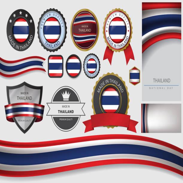 ilustraciones, imágenes clip art, dibujos animados e iconos de stock de hecho en sello, tailandia bandera tailandesa (arte vectorial - bandera tailandesa