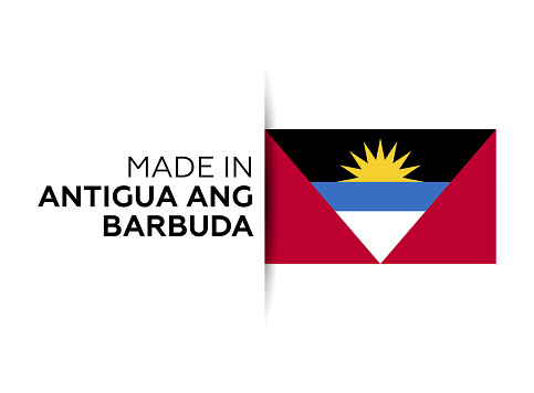 Made in the Antigua and barbuda label, product emblem. White isolated background.