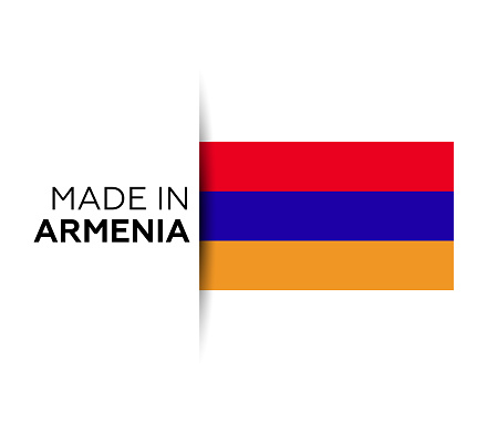 Made in the Armenia label, product emblem. White isolated background