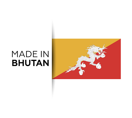 Made in the Bhutan label, product emblem. White isolated background