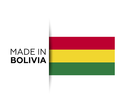 Made in the Bolivia label, product emblem. White isolated background