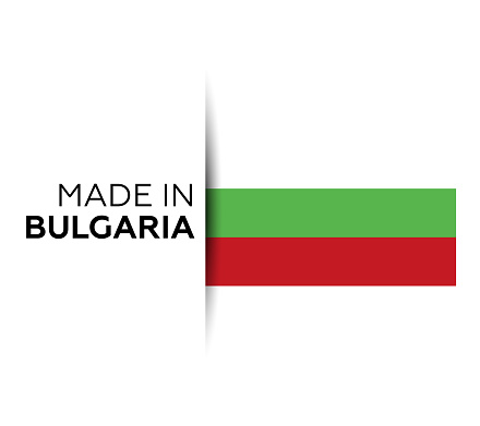 Made in the Bulgaria label, product emblem. White isolated background