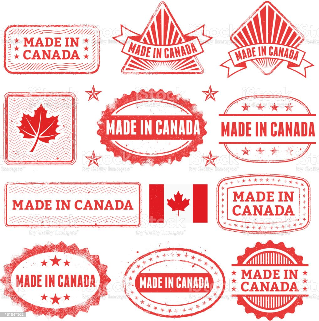Made in the Canada Grunge Badge Set vector art illustration