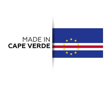 Made in the Cape Verde label, product emblem. White isolated background