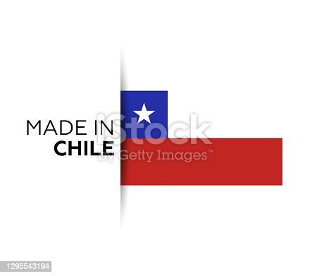 istock Made in the Chile label, product emblem. White isolated background 1295543194