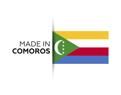 Made in the Comoros label, product emblem. White isolated background