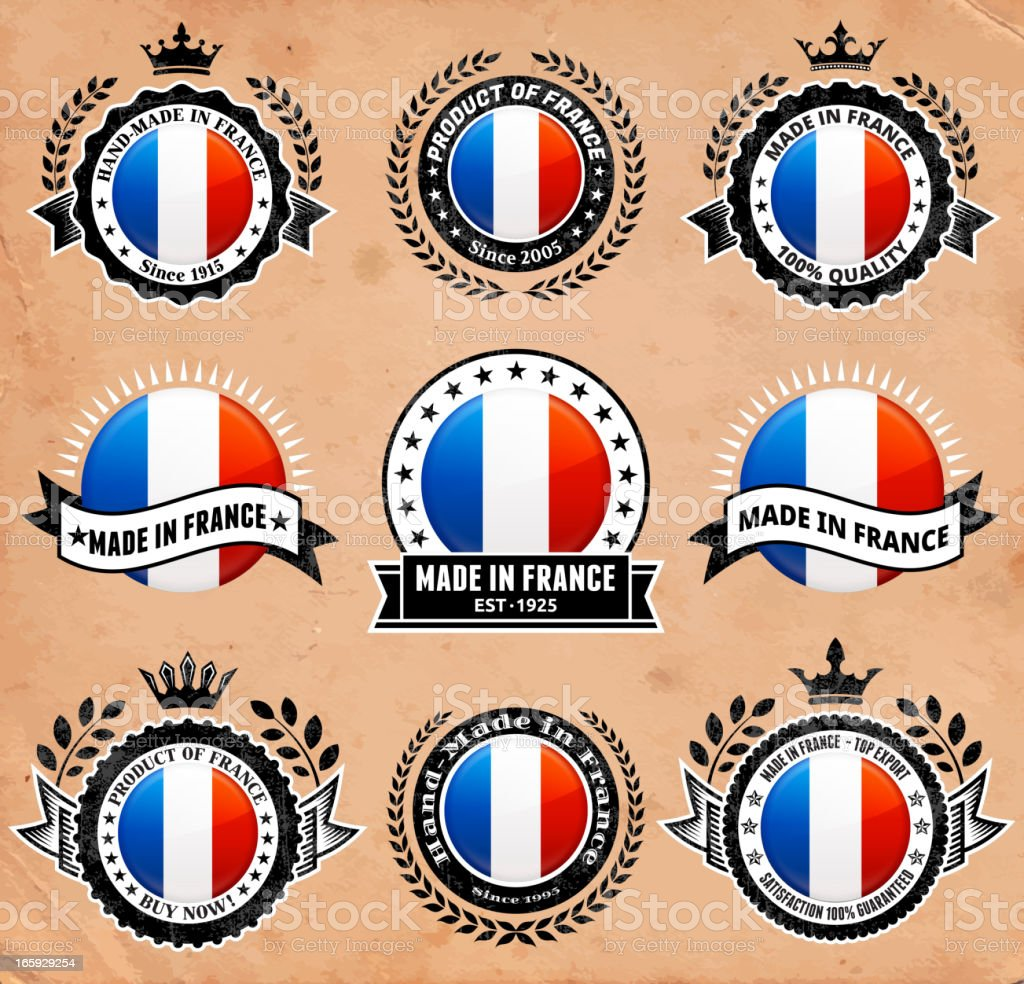 Made in the France patriotic Badge vector icon set royalty-free made in the france patriotic badge vector icon set stock vector art & more images of 1940-1949