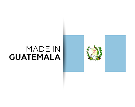Made in the Guatemala label, product emblem. White isolated background