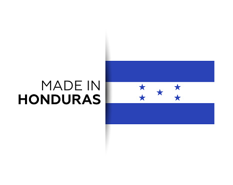 Made in the Honduras label, product emblem. White isolated background