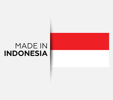 Made in the Indonesia label, product emblem. White isolated background