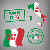 Made in the Italy rubber stamps icon isolated on transparent background. Manufactured or Produced in Italian Republic.  Set of grunge rubber stamps. EPS10.