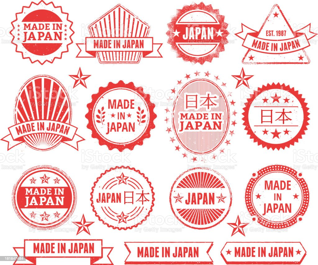 Made in the Japan Grunge Badge Set royalty-free stock vector art