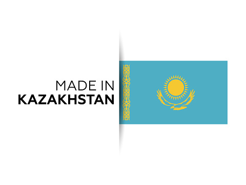 Made in the Kazakhstan label, product emblem. White isolated background