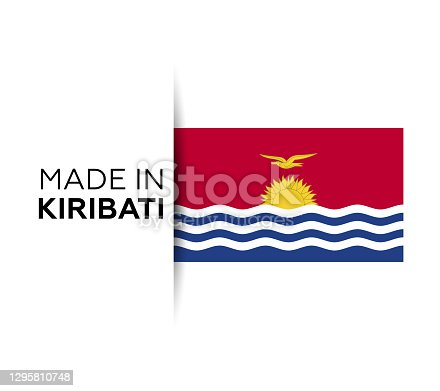 istock Made in the Kiribati label, product emblem. White isolated background 1295810748