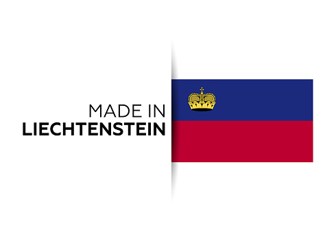 Made in the Liechtenstein label, product emblem. White isolated background
