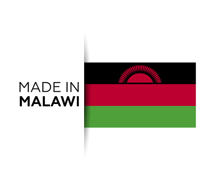Made in the Malawi label, product emblem. White isolated background.