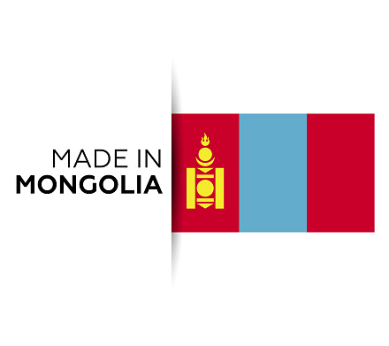 Made in the Mongolia label, product emblem. White isolated background