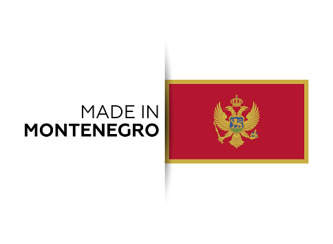 Made in the Montenegro label, product emblem. White isolated background